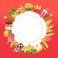Super Spaß Fast-Food-Kopie Raum Hintergrund vektor