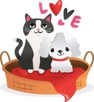 tecknad kattunge valp älskar husdjurssäng vektor