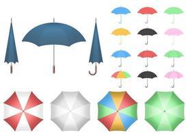 Regenschirmvektor-Entwurfsillustrationssatz lokalisiert auf weißem Hintergrund vektor