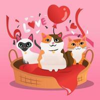 tecknad kattungar katt säng gåva vektor