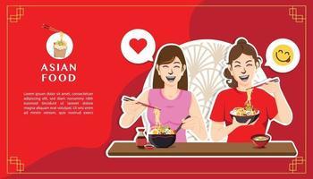 zwei glückliche Frauen, die Nudelkonzept essen vektor