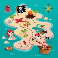 super süße Piraten-Abenteuerkarte vektor