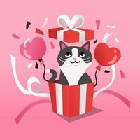 tecknad kattunge i överraskning presentförpackning vektor