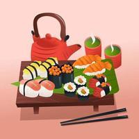 Sushi-Platte und heißer Tee vektor