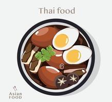 thailändsk mat stuvad fläsk och ägg vektorillustration vektor
