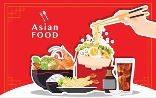 traditionelle chinesische Suppe mit Nudeln asiatisches Essen Konzept vektor