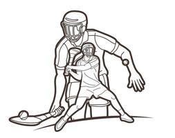 schleudernde Sportspieler skizzieren vektor