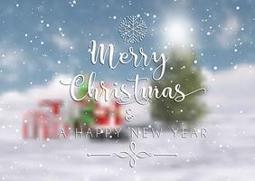Weihnachtstext auf einem defokussierten Hintergrund