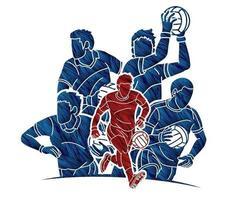grupp gäliska fotbollsmänspelare vektor