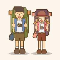 tecknad par bär ryggsäckar