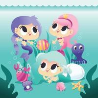 super süße Gruppe von Meerjungfrauen unter Wasser mit Meerestieren vektor