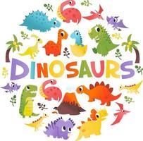 super söta tecknade dinosaurier runda dekorationer vektor