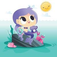 super süße Meerjungfrau sitzt auf Felsen am Meer vektor
