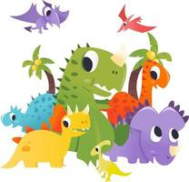 super süße Cartoon Dinosaurier Gruppe prähistorische Szene vektor
