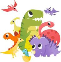 super söta tecknade dinosaurier grupp scen vektor