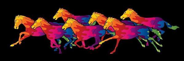 Gruppe von sieben Pferden läuft vektor
