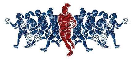 gälisk fotboll kvinnliga spelare action vektor