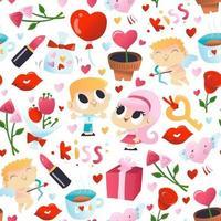 super söt alla hjärtans dag sömlösa mönster bakgrund vektor