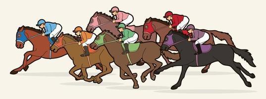 grupp av jockey hästkapplöpning sport vektor