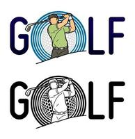 golfdesign med golfspelare vektor