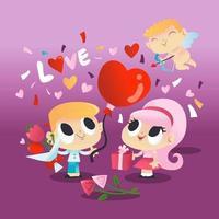 super söt alla hjärtans dag par med cupid vektor