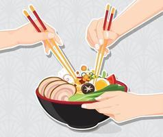 japansk ramen nudelskål design vektor
