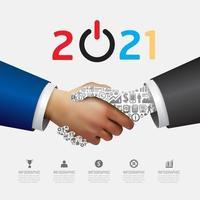 Business 2021 Handshake Erfolgskonzept. abstrakt vektor