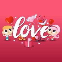 super söt alla hjärtans dag par kärlek vektor