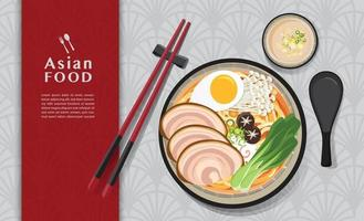 japansk ramen nudel asiatisk matdesign vektor