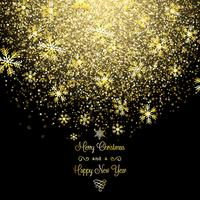 Guld jul snöflingor bakgrund vektor