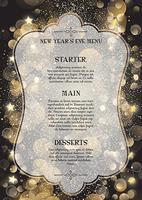 Dekorativa nyårsaftonmenyn vektor