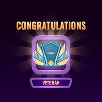 Spiel UI rangiert bis Veteran Schnittstelle Vektor-Illustration vektor
