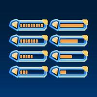 Set Fantasy-Hochglanz mit goldenem Eckspiel ui Diamond Gems Progress Bar mit 2 verschiedenen Stilen für GUI-Asset-Elemente vektor