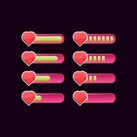 Satz von lässigen rosa Spiel ui Gesundheit Fortschrittsbalken vektor