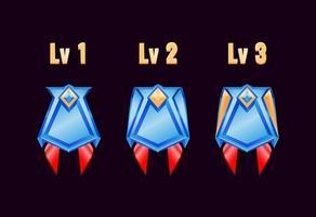 Spiel ui glänzende goldene Diamant Rang Abzeichen Medaillen mit Note vektor