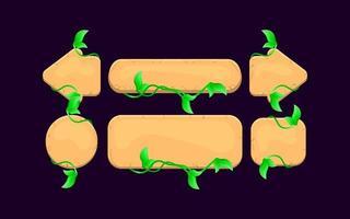Satz Spiel UI Holz Blätter Natur Button Kit für GUI Asset Elemente Vektor-Illustration vektor