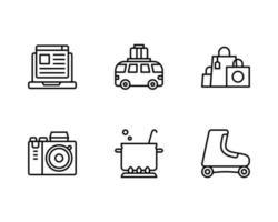 Hobby- und Freizeit-Symbol mit Blogging-, Reise-, Einkaufs-, Kamera-, Koch- und Rollschuh-Symbol