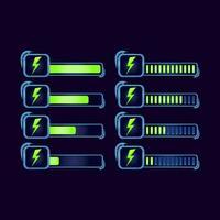 Satz von GUI Fantasie RPG Energie Ausdauer Fortschrittsbalken für Spiel UI Asset Elemente Vektor-Illustration vektor
