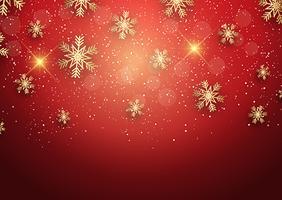 Jul bakgrund med gyllene snöflingor vektor