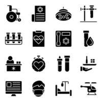 förpackning med fasta ikoner för medicin och handel vektor