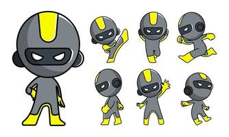 niedlicher Roboter Ninja Cartoon Zeichensatz vektor