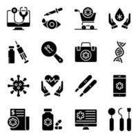 förpackning med medicinska och apotek fasta ikoner