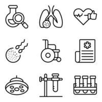 paket med laboratorieexperiment och medicinska linjära ikoner vektor