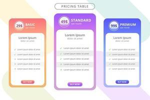prissättningstabellmall för webbplats vektor