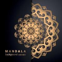 lyx dekorativ mandala design bakgrund i guldfärg vektor