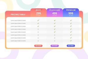 prissättning tabell mall design vektor