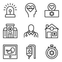 Packung mit medizinischen und Krankenhausaufenthalten linearen Symbolen vektor