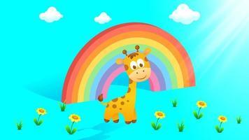 3d Regenbogen mit Wolken, Babygiraffe vektor