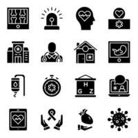 förpackning med fasta ikoner för medicinska och sjukvård vektor