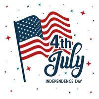 4 juli lycklig självständighetsdag med flaggdekoration vektor